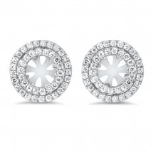 Double Halo Round Halo Earrings for 0.80 ct Stone | AE14-016