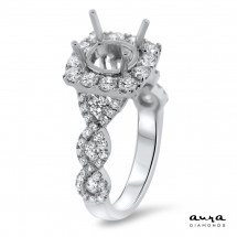 Cathedral Halo Engagement Ring for 1.5 ct Center Stone