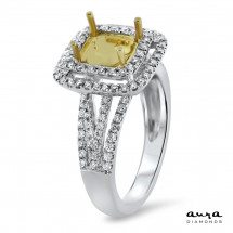 Square Double Halo Engagement Ring for 1.5ct Fancy Yellow Stone | AR14-085
