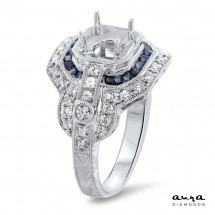 Sapphire Halo Engagement Ring for 1ct Center Stone