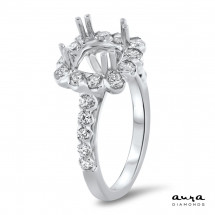 Cathedral Halo Engagement Ring for 2 ct Center Stone