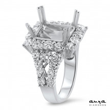 Rectangular Engagement Ring with Halo for 5ct Stone