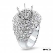 """Illusion Pave Engagement Ring for 3 Carat Stone 