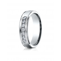 14k White Gold 6mm Comfort-Fit Channel Set 7-Stone Diamond Eternity Ring (0.42ct)