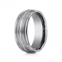 8mm Tungsten Ring With Satin Finish & High Polish Center & Edges