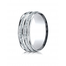 10K White Gold 8mm Comfort-Fit Hammer-Finished High Polished Center Trim and Round Edge Carved Design Band
