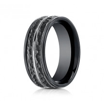 8mm Black Cobalt Ring With Hammered Finish