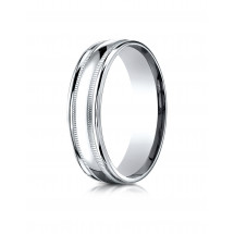 10k White Gold 6mm Comfort-Fit High Polished with Milgrain Round Edge Carved Design Band