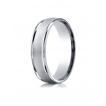 10k White Gold 6mm Comfort-Fit Wired-Finished High Polished Round Edge Carved Design Band
