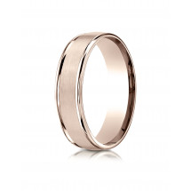 14k Rose Gold 6mm Comfort-Fit Satin Finish High Polished Round Edge Carved Design Band