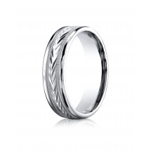 10k White Gold 6mm Comfort-Fit Harvest of Love Round Edge Carved Design Band