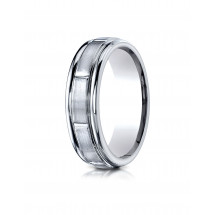 10k White Gold 6mm Comfort-Fit Satin-Finished 8 High Polished Center Cuts and Round Edge Carved Design Band