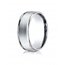 10k White Gold 8mm Comfort-Fit Satin Finish High Polished Round Edge Carved Design Band | Aura Diamonds