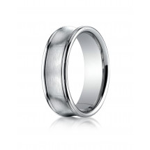 14k White Gold 7.5mm Comfort-Fit Satin-Finished Concave Round Edge Carved Design Band