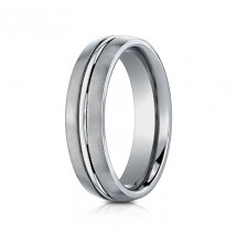 6mm Titanium Ring With Satin Finish & High Polished Center