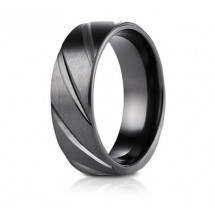 7.5mm Black Titanium Candy Cane Pattern Ring