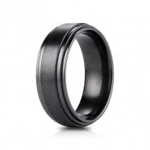 8mm Black Titanium Ring with High Polished Double Edge