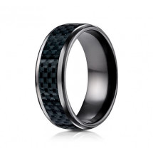 8mm Black Titanium Carbon Fiber Ring