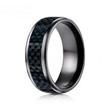 8mm Black Titanium Carbon Fiber Ring | ATICF68900CFBKT