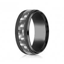 9mm Black Titanium Ring With Carbon Fiber