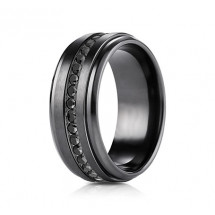 8mm Black Titanium Ring with Black Cubic Zirconia
