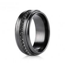 8mm Black Titanium Ring with Black Cubic Zirconia