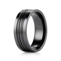 8mm Black Titanium Ring With High Polish & Satin Finish
