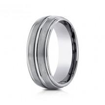 8mm Titanium Ring With Satin Finish & High Polish Center & Edges