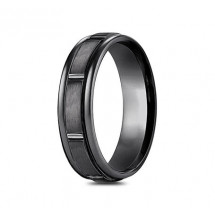 7mm Black Titanium Ring with Satin Finish Sections