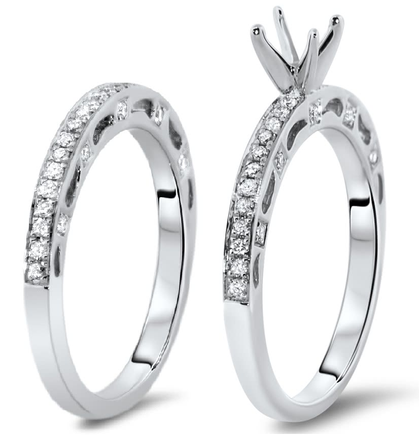 Custom Engagement Ring Set With Side Stones For 0 5ct Stone Ar14