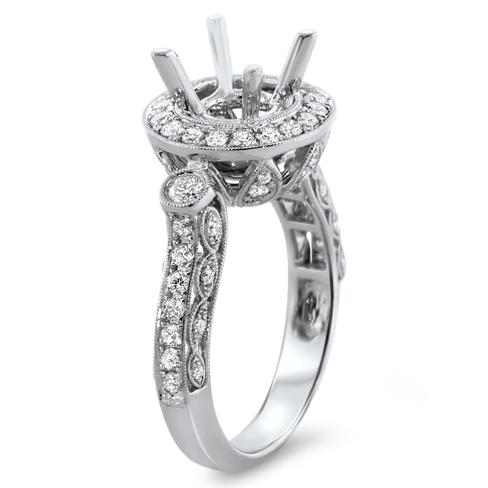 Round Diamond Engagement Rings With Outside Halo