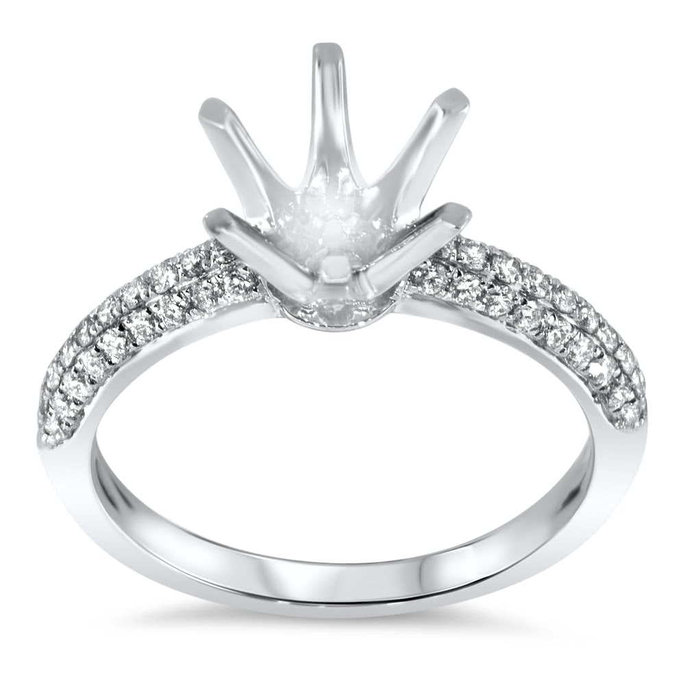 Classic Pave Engagement Ring For 1 5 Ct Center Stone