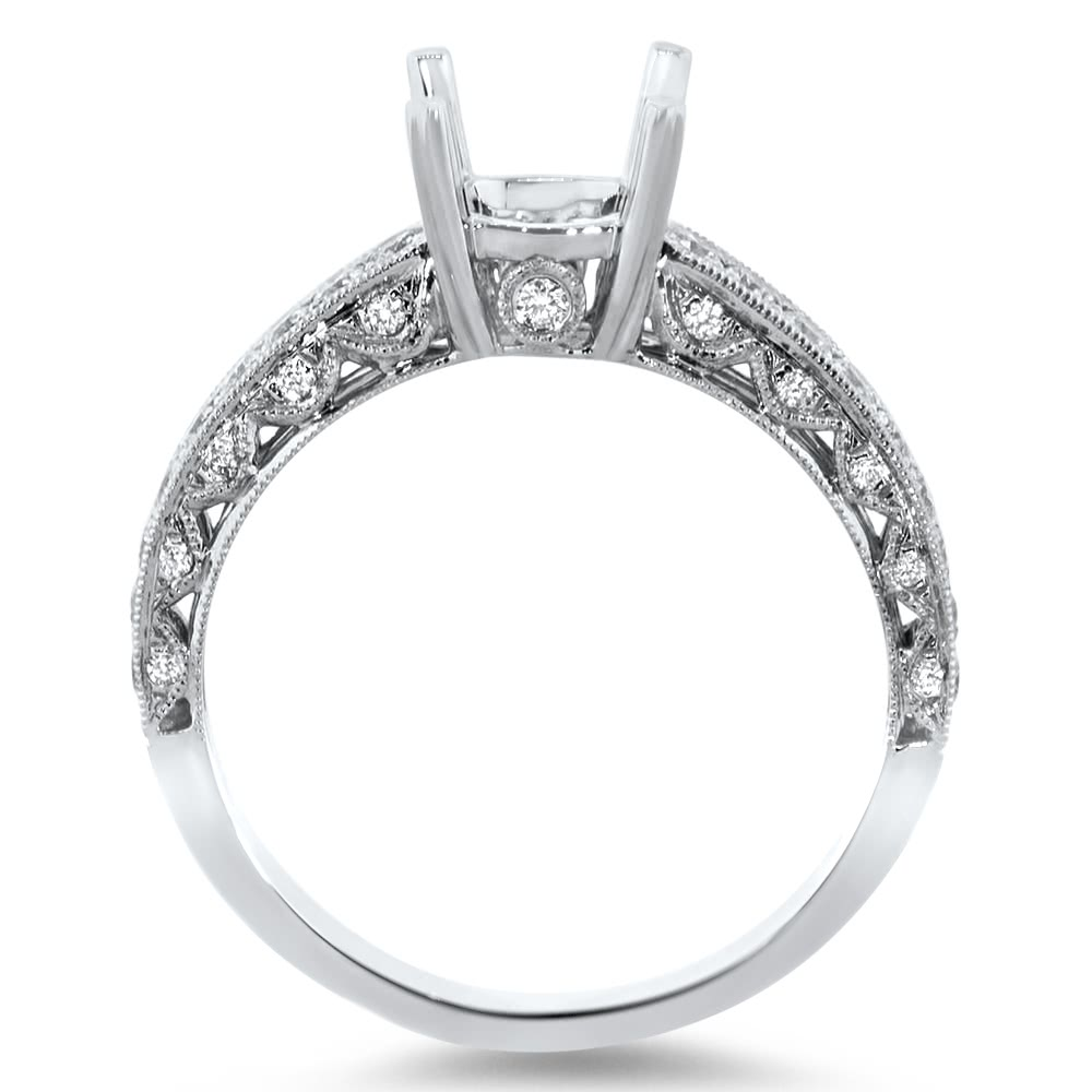 Micro Pave Vintage Engagement Ring For 1 Ct Stone Ar14