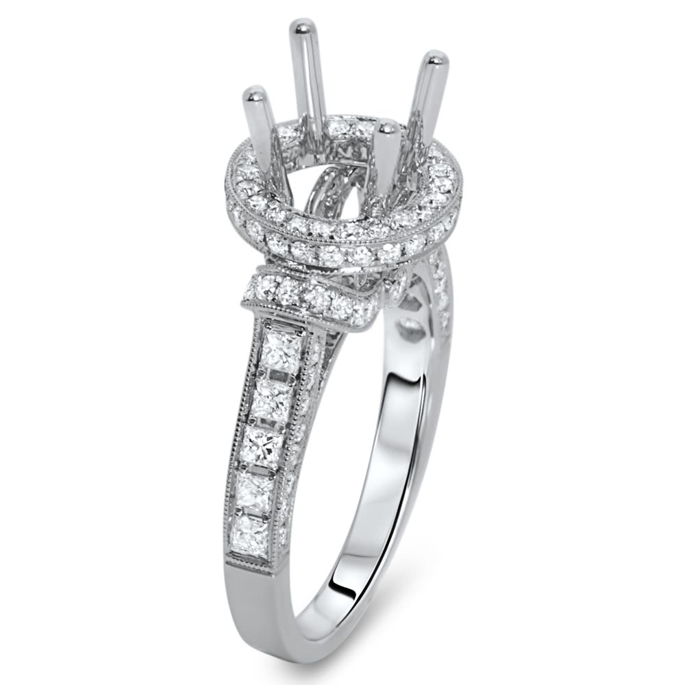 Round Halo Engagement Ring For 2 5 Carat Stone Ar14 094