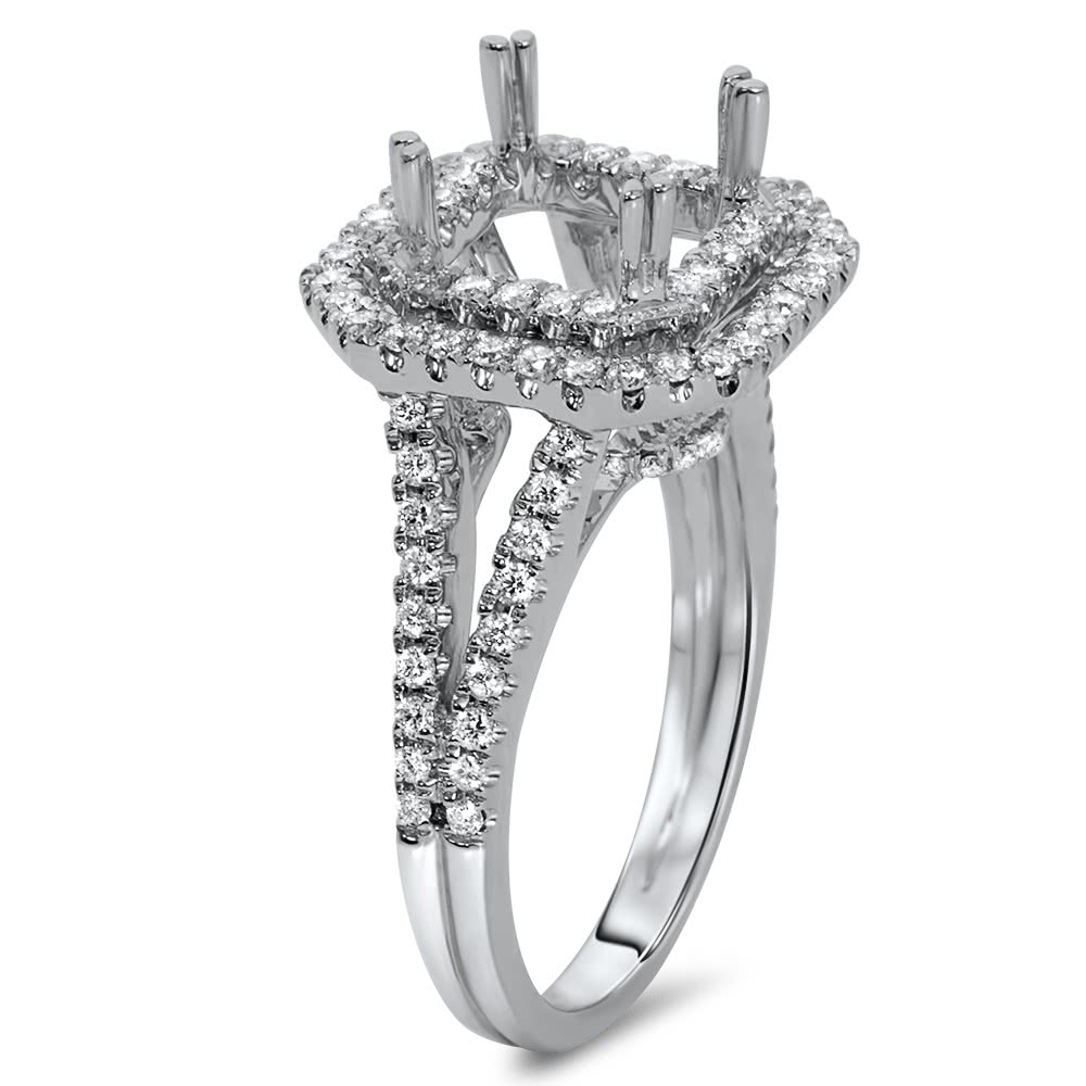 Square Double Halo Engagement Ring For 2 Ct Stone Ar14
