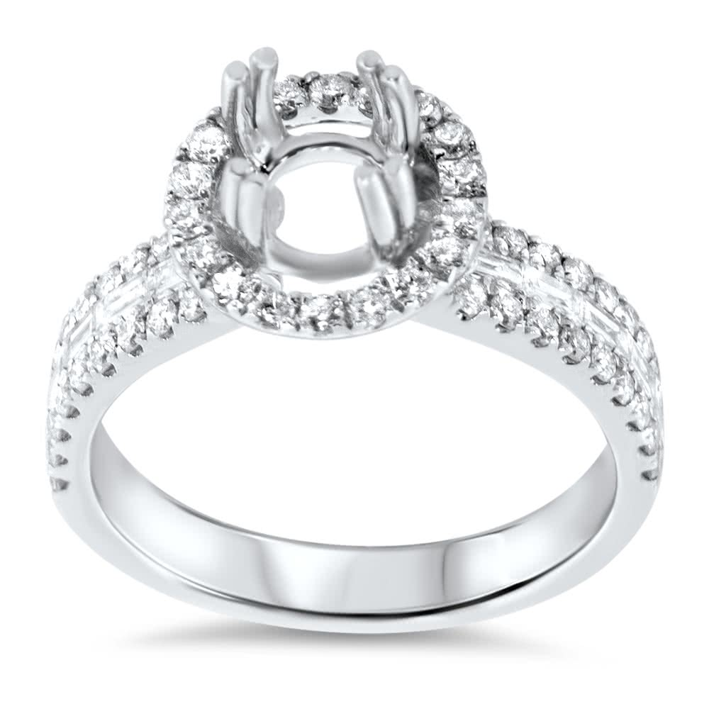 round halo engagement ring 3 row side stones for 1 5 carat. Black Bedroom Furniture Sets. Home Design Ideas