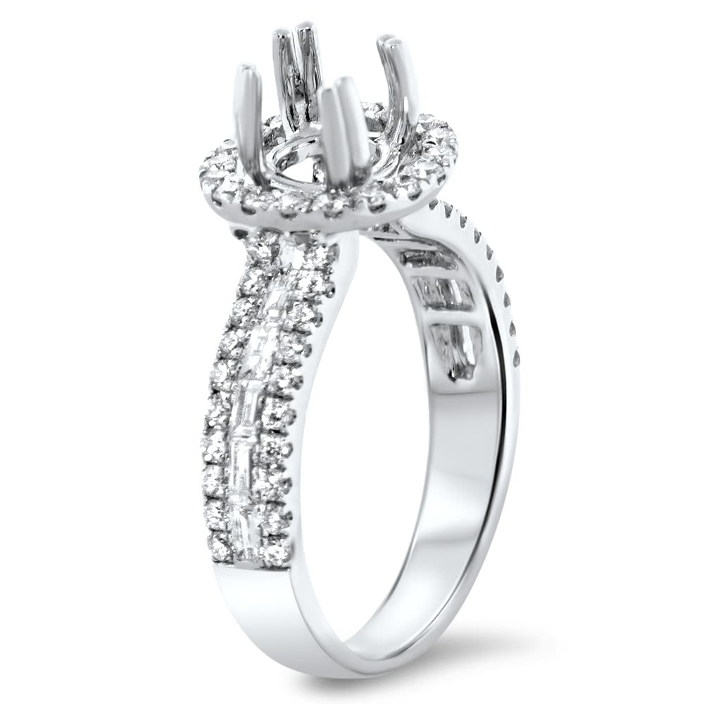 Round Halo Engagement Ring 3 Row Side Stones For 1 5 Carat