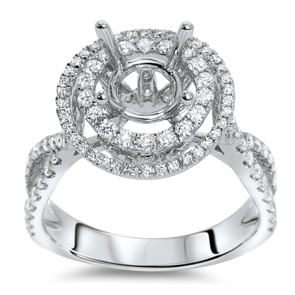 round double halo engagement ring for 1 5 ct center stone. Black Bedroom Furniture Sets. Home Design Ideas