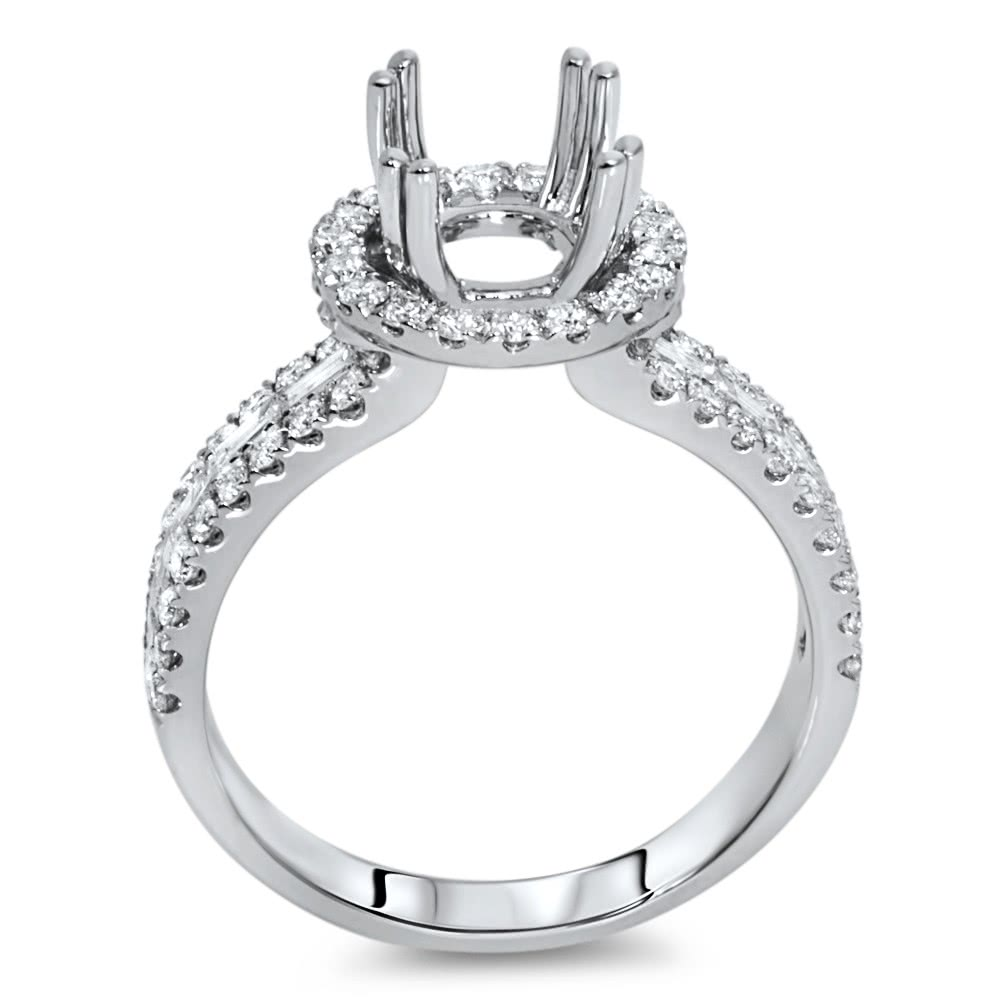 Round Halo Engagement Ring With 3 Row Side Stone For 1ct