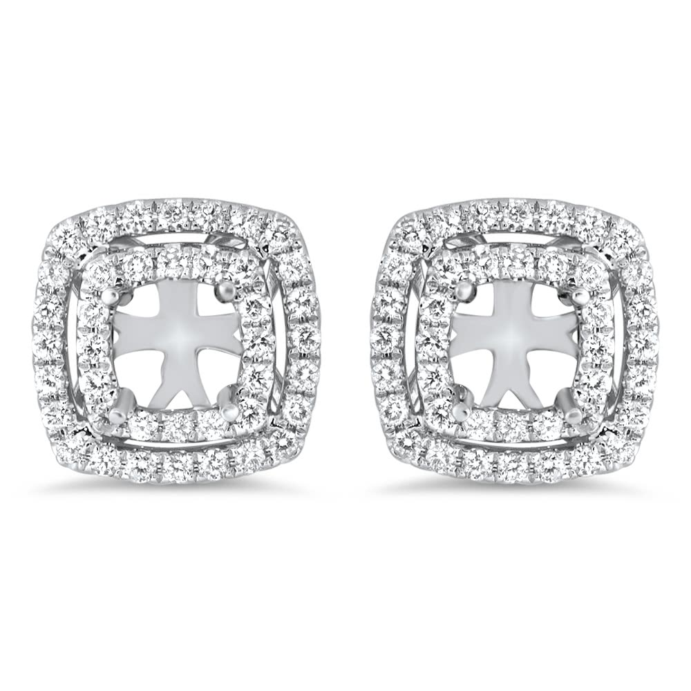 Double Halo Cushion Earrings For 1 25ct Stone Ae14 014