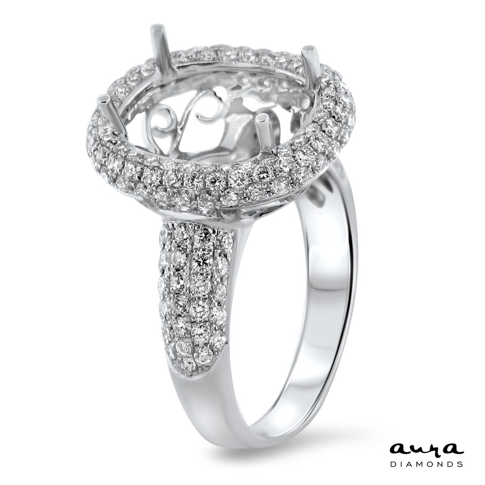 Oval Pave Engagement Ring with Halo for 5ct Stone