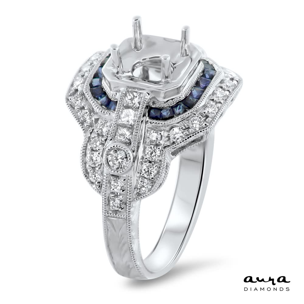 Sapphire Halo Engagement Ring for 1 ct Center Stone