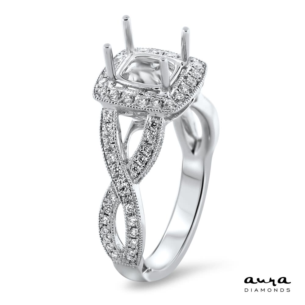 Square Halo Modern Engagement Ring For 1 25ct Stone Ar14