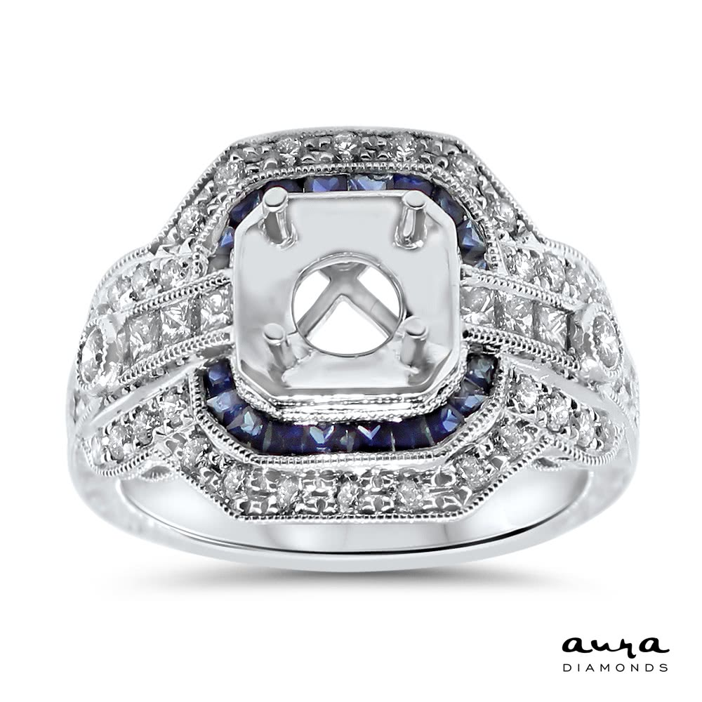 Sapphire Halo Engagement Ring For 1 Ct Center Stone Ar14