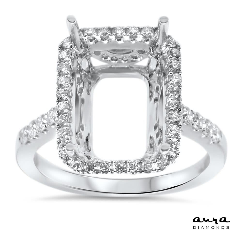 Rectangular Engagement Ring With Halo For 7 Ct Stone